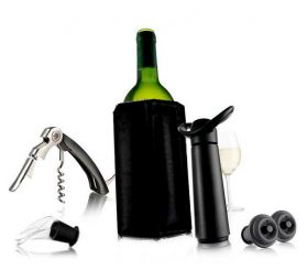 Coffret  Wine Essentials Black Edition - 5 pièces - Vacuvin
